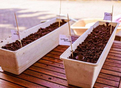 Laitoimme multaan myös pieniä kylttejä, jotta muistamme, missä mitäkin yrttiä kasvaa.